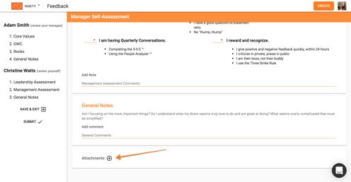 attachments on feedback